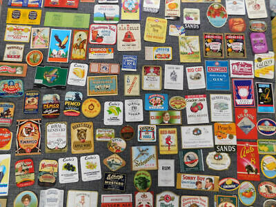 Lot Of 100 Different  Vintage Small Advertising Labels..nice Assortment..