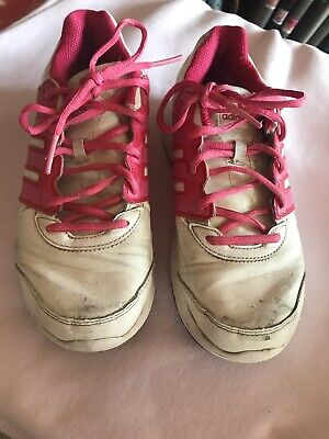 Girls White And Pink Adidas Trainers Size.4