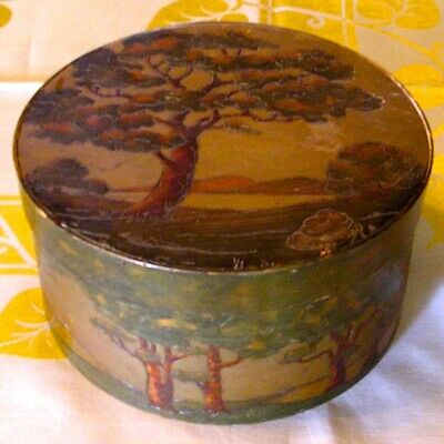 Exquisite antique ART NOUVEAU hat box, Arts & Crafts transitional painted wood