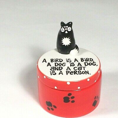 ceramic cat trinket box Lorrie Veasey our name is mud cat lover gift