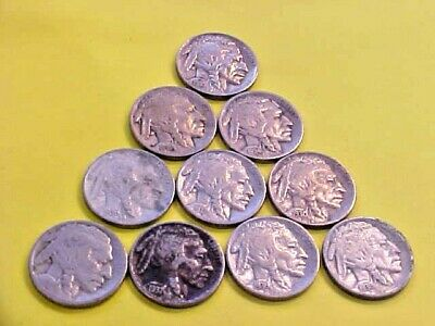 US Coins A WHOLE HERD OF BUFFALOS 10 Different Mixed Date/Mintmarks Nickels U134