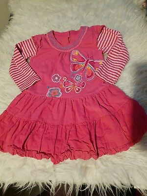 girls 12-18 months long sleeved tunic blouse dress butterfly clothes next day