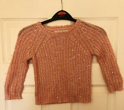 Primark Young Dimension Girls Age 2-3 Years Light Pink Sequin Long Sleeve Jumper