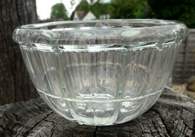 Vintage JAJ Pyrex Jelly Blacmange Fluted Clear Glass Bobble Foot Bowl
