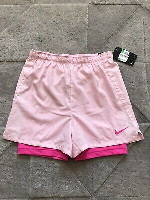 Nike Pink Double Layer Shorts Size XL Girls Ladies 8-10 Rrp £35