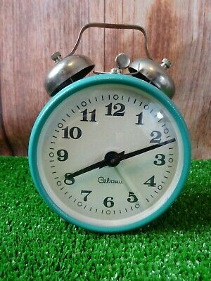 Russian Sevani SSRS CCCR alarm table clock Soviet vintage mechanical teal watch