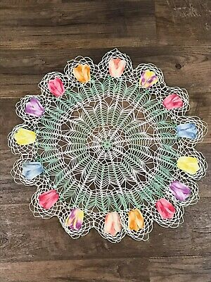 """vintage  hand crocheted doily puffy 3D tulips 24"""" white and green"""