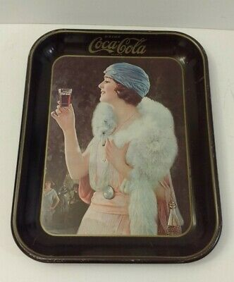 Vintage Coca Cola Serving Tray Lady in White Fox Antique Flapper Girl