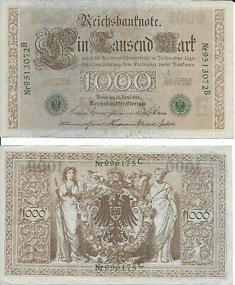 1910 German 1000 Mark Lot of 2 Vintage Bank Notes Excellent condition