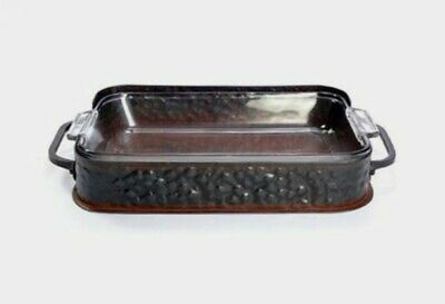 Jan Barboglio 5 Quart Casserole Server with Hammered Iron Tray
