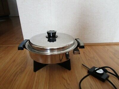 "Vintage Welbalco 11"" Stainless Steel Oil Core Electric Skillet Cat No 17209-900"