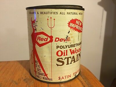 Vtg Empty Metal Tin Satin Can w/ Great Graphics Halloween RED DEVIL