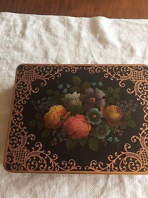 Vintage Floral Design Hinged Metal Tin Container England