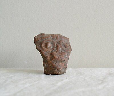 "Pre-Columbian Clay Head Artifact Big Eyes Ancient Terra Cotta 1 3/4"" Sculpture"