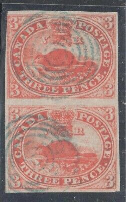 Canada Used #4 VF Pair -- RED shade -- Beaver Imperforated