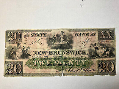 $20  STATE BANK at NEW-BRUNSWICK, New Jersey   FULLY ISSUED