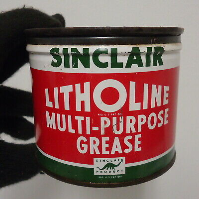 vintage sinclair litholine multi purpose grease can/tin advertising dino lube