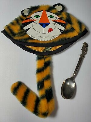 TONY THE TIGER Kellogg's Kids beanie hat Rare & silverplate spoon CEREAL PREMIUM