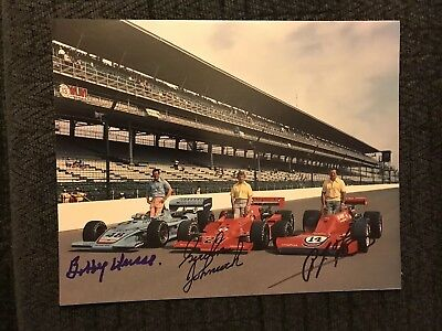 1975 Front Row Signed Indy 500 8x10 Photo Aj Foyt Bobby Unser Gordon Johncock