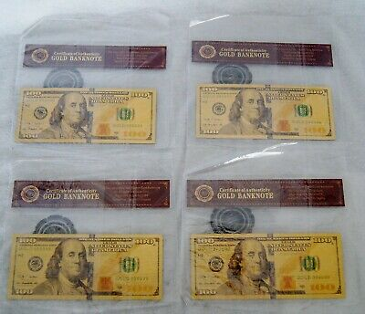 Lot of 4 US $100 Gold Bank Notes 24K COA Reproduction Mint Unopened A9893