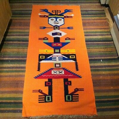 VINTAGE Mexican Saltillo Serape Runner Rug Aztec Southwest 52x23'' Orange Blue