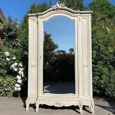 French Antique Painted Arched Armoire Two Mirrored Door Knockdown Form