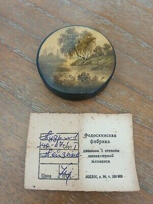 Superb Antique Russian Signed Lacquer Box w/Original Reciept From Fedoskinskaya