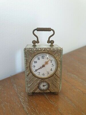Beautiful Antique Miniature French Miniature 'Mirrored' Carriage Clock/Timepiece