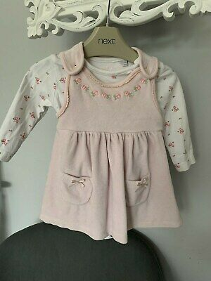 BABY GIRL DEBENHAMS Pink Velour Flower Dress (2-Piece) 3-6 Months *NEXT SEASON*