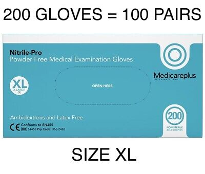 Xl Nitrile Disposable Medical Ppe 200 Gloves Extra Large Latex Powder Free Blue,