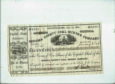 Civil War period  Gold mine stock Sonoma  Petaluma CA stock certificate