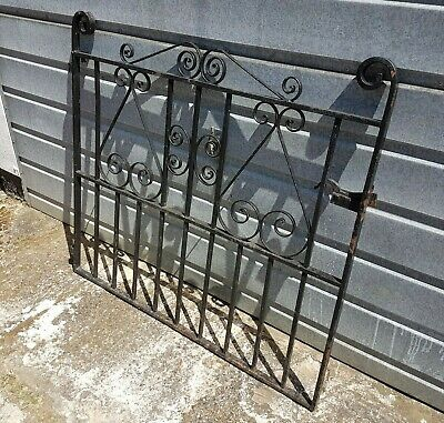 Black Heavy old wrought iron Garden gate complete with hinges & latch