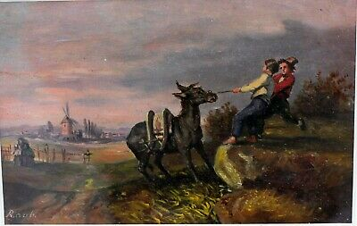 Antique European Genre Oil Painting Boys w/ Donkey Artist Signed Eastlake Frame