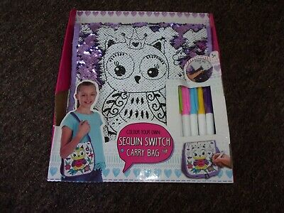 owl colour your own sequin switch carry bag new in box
