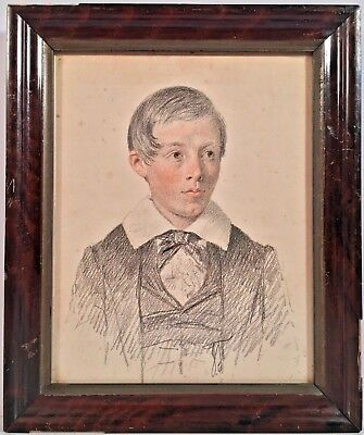 Mid 19th Century English School Colored Pencil Portrait Of A Boy