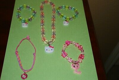 Sanrio Hello Kitty Necklace/ Braclet Stretch Jewlery Lot Set Of 5, Pre-owned