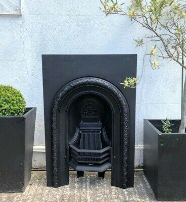 A Lovely Victorian Cast Iron Arched Insert Fireplace Complete