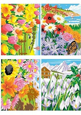 Seasons, Set Of 4 Paint By Numbers Painting Kit, Floral Flowers, Frameless