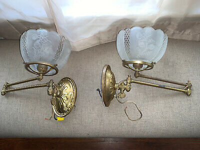 Victorian Antique Pair Of Gas Sconces. Electrified With Switch. Shades Included!
