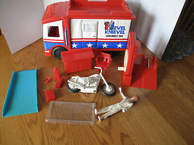 Vintage 1973 EVEL KNIEVEL Toy Lot Evel Doll, Scramble Van, Stunt Cycle Set