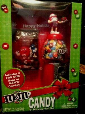 "M&M MM 9"" Bubble Gum Machine Holiday Red Santa Candy Dispenser W49"