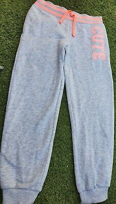Girls Grey/peach Tracksuit Bottoms/cute,sports/exercise/running,cycling,5-6yrs