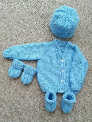 Baby Hand Knitted Cardigan, Hat, Mittens, Bootees Set, Pale Blue, 3-6 Months New