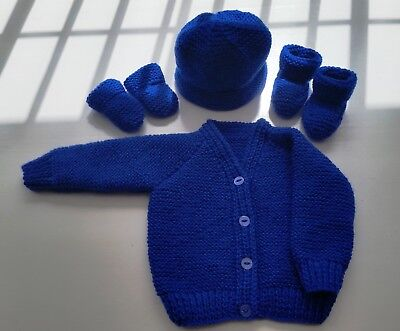 Baby Hand Knitted Cardigan, Hat, Mittens, Bootees Set, Royal Blue, 3-6 M, New