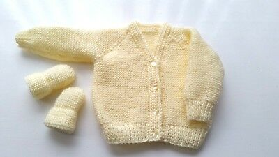 Baby Hand Knitted Cardigan + Mittens, Pale Lemon, 3-6 Months, Long Sleeve, New