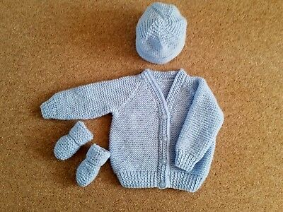 Baby Hand Knitted Cardigan, Hat, Mittens, Set, Pale Blue, 3-6 Months New