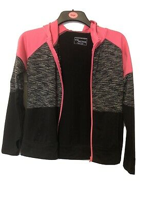 Girls Pink And Black Gym Workout Hooded Jacket Age 12-13 From Primark