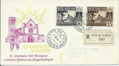 Vaticano FDC Venetia Club n° 231 Basilica San Francesco d'Assisi 1954 racc.IT