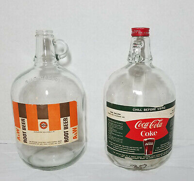 Coca Cola Memorabilia Coke Glass Gallon Syrup Jug and A&W Root Beer Syrup Gal