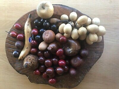Real Wooden Hand Carved Bowl With Wooden Fruit